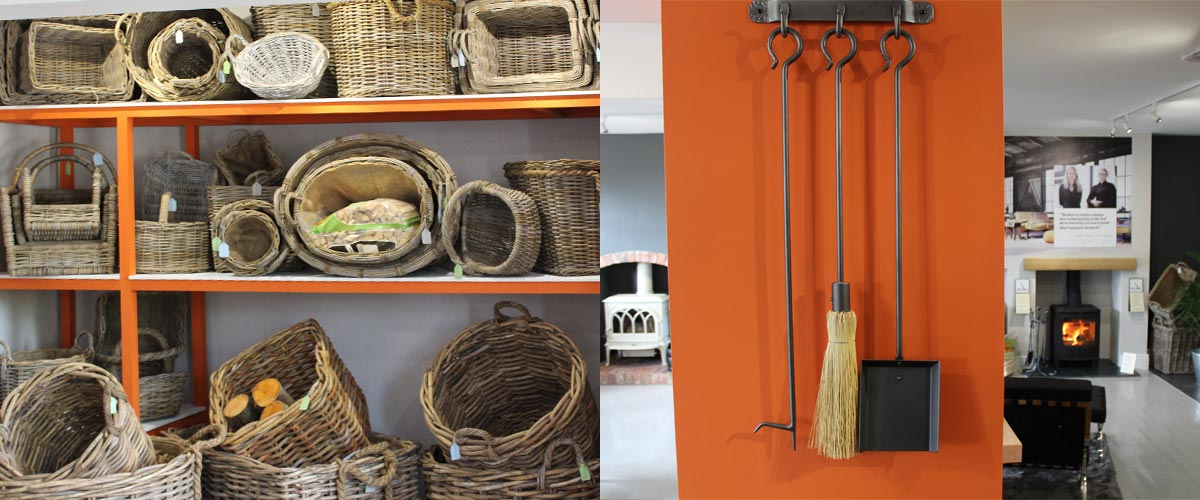 Stove accessories showing log baskets and companion sets