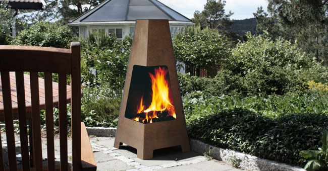 outdoor firepit and chiminea